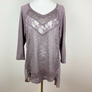 Maurices Tunic Top Purple Lace Sides Open Knit 0